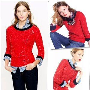J.CREW WOOL MOHAIR RED NAVY SEQUIN SWEATER M